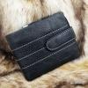 กระเป๋าสตางค์ผู้ชาย หนังแท้ ทรงสั้น GUBINTU Line Button Zip - สีดำ