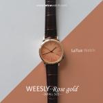นาฬิกาข้อมือ หน้าปัดเล็ก สายหนังสีน้ำตาล รุ่น WEESLY-Rose Gold