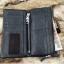 กระเป๋าสตางค์ผู้ชาย หนังแท้ ทรงยาว GUBINTU Line Button Zip - สีดำ thumbnail 13