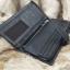 กระเป๋าสตางค์ผู้ชาย หนังแท้ ทรงยาว GUBINTU Line Button Zip - สีดำ thumbnail 18