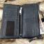 กระเป๋าสตางค์ผู้ชาย หนังแท้ ทรงยาว GUBINTU Line Button Zip - สีดำ thumbnail 12