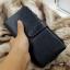 กระเป๋าสตางค์ผู้ชาย หนังแท้ ทรงยาว GUBINTU Line Button Zip - สีดำ thumbnail 5