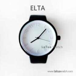 นาฬิกาข้อมือรุ่น ELTA หน้าปัดขาว-สายสีดำ