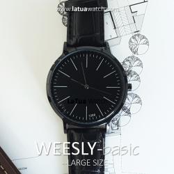 นาฬิกาข้อมือ หน้าปัดใหญ่ รุ่น WEESLY-BASIC ดำล้วน