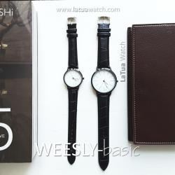 นาฬิกาข้อมือ หน้าปัดเล็ก คู่หน้าปัดใหญ่ สายหนังสีดำ รุ่น WEESLY-Basic