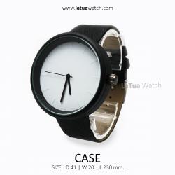 นาฬิกาข้อมือรุ่น CASE หน้าปัดขาว สายสีดำ