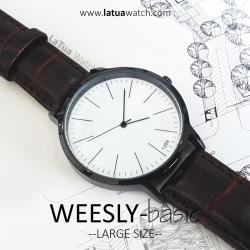 นาฬิกาข้อมือ หน้าปัดใหญ่ รุ่น WEESLY-BASIC หน้าปัดขาว สายหนังสีน้ำตาล
