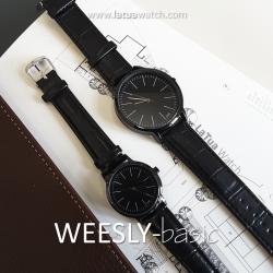 นาฬิกาข้อมือ หน้าปัดเล็ก คู่หน้าปัดใหญ่ สีดำล้วน รุ่น WEESLY-Basic