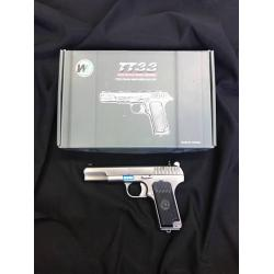 WE TT33 - BK Product Brand: WE Product Code: GUNT0473 Hop-Up: ADJUSTABLE Weight: 684 g Length: 194 mm Capacity: 15 rds Power: 310 fps Power Source: Blowback: YES Shooting Mode: Semi Auto