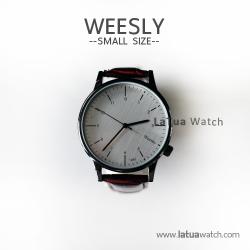 นาฬิกาข้อมือ หน้าปัดเล็ก สายหนังสีน้ำตาล รุ่น WEESLY นาฬิกาผู้หญิง