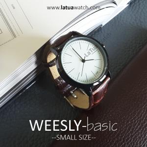 นาฬิกาข้อมือ หน้าปัดเล็ก รุ่น WEESLY-BASIC นาฬิกาผู้หญิง หน้าปัดขาว สายหนังสีน้ำตาล