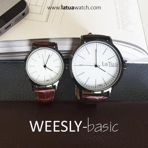นาฬิกาข้อมือ หน้าปัดเล็ก คู่หน้าปัดใหญ่ สายหนังสีน้ำตาล รุ่น WEESLY-Basic