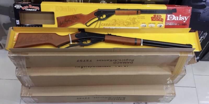 New.Daisy Red Rider Carbine ปืนบีบีกัน ระบบคานเหวี่ยง ยิงลูกกระสุนเหล็ก 4.5มิล ชนิดกลมเท่านั้น พานท้ายและกระโจมมือ ทำจากไม้แท้ บรรจุกระสุนได้ 560 ราคาพิเศษ