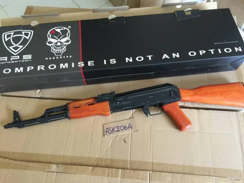 New.ปืนไฟฟ้า AK ASK 206A สีดำเงา ไม้แท้ ท้ายเต็ม ราคาพิเศษ