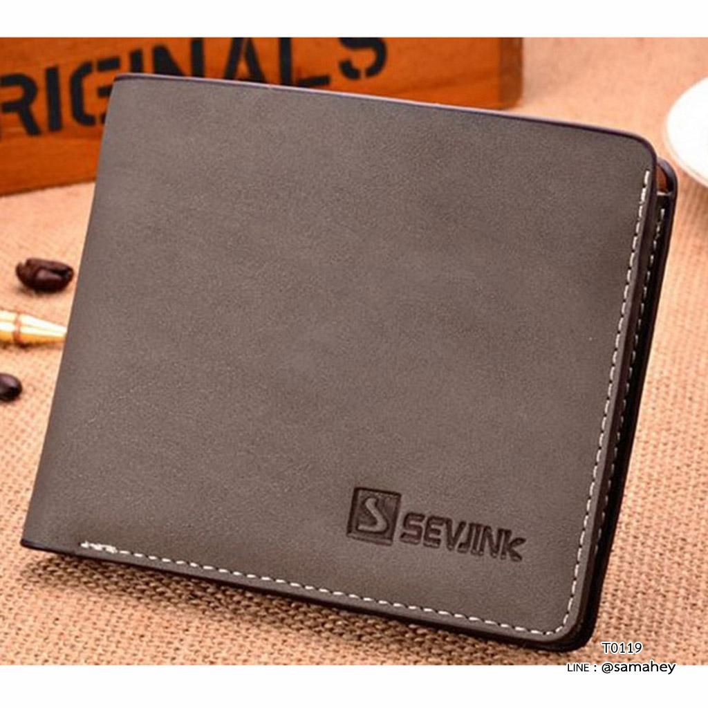 กระเป๋าสตางค์ผู้ชาย ทรงสั้น รุ่น SEVJINK - สีเทา
