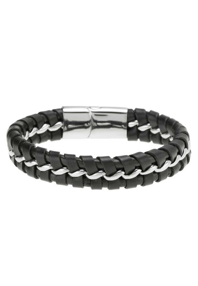 กำไล Stainless Steel with Braided Leathe สีดำ A008