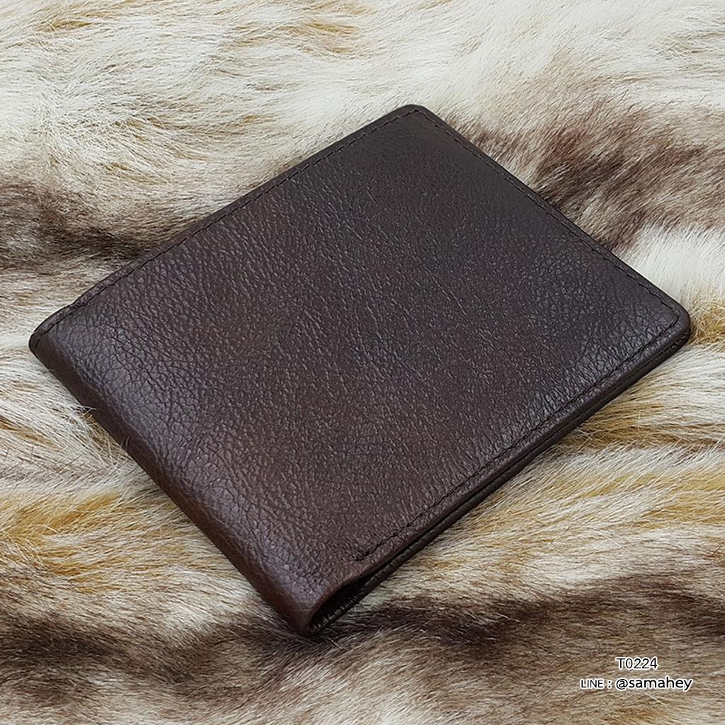 กระเป๋าสตางค์ผู้ชาย หนังแท้ ทรงสั้น Leather Clear - สีน้ำตาลเข้ม