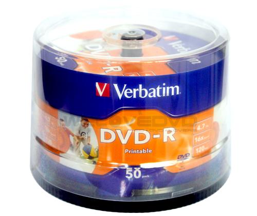 Verbatim DVD-R 16X Printable Made in Japan (50 pcs/Cake Box)