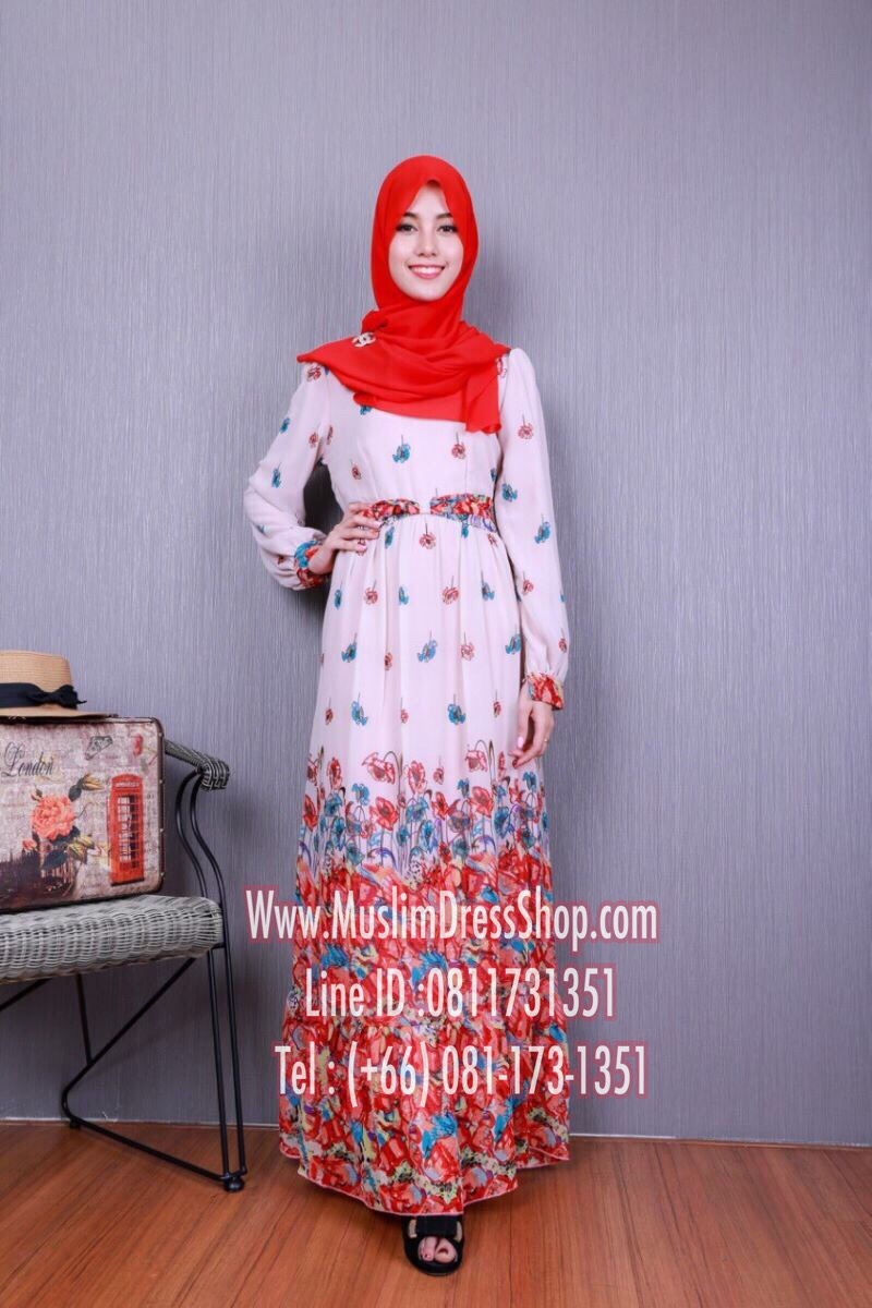 ชุดเดรสมุสลิมแฟชั่นพร้อมผ้าพัน ชุดเดรสดอกไม้พิมพ์ลาย ID : Flr 01