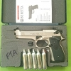 ปืนสั้นอัดแก๊สUmarex Beretta M92 FS Nickel cal.177/4.5mm. Co2 Pistol เบอร์1 ✔Licensed Italy ✔Made in Germany ✔ขนาดเบอร์ลูก Caliber 4.5mm (.177) ✔แก๊ส Power Source CO2 12gr Capsule ✔บรรจุลูก Magazine Capacity 8 Shot &#x27