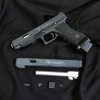Nova T-style G34 Aluminum Slide for Marui Airsoft G17 / 34 GBB series - Matt Black ** Limited** Features ** john wick Matt Black Edition ** - CNC Machined Aluminum Slide - CNC Aluminum Outerbarrel ( Silver color ) - CNC Aluminum Front / Rear sight ( Real