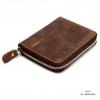 กระเป๋าสตางค์ผู้ชาย หนังแท้ ทรงตั้ง Ven Leather Zipper - สีน้ำตาลอ่อน