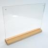 H9005XM ป้ายอะคริลิค T-Shape ฐานไม้ธรรมชาติ หกเหลี่ยม ขนาด เอ 4 แนวนอน
