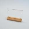 H9001XM ป้ายอะคริลิค T-Shape ฐานไม้ธรรมชาติ หกเหลี่ยม ขนาด 4R (4x6 นิ้ว) แนวนอน
