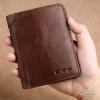 กระเป๋าสตางค์ผู้ชาย หนังแท้ ทรงตั้ง Leather DIDE (ส่งพร้อมกล่อง) - สีน้ำตาลเข้ม