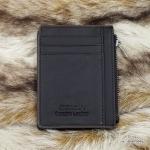 กระเป๋าสตางค์ผู้ชาย หนังแท้ ทรงสั้น รุ่น Jinbaolai Zip Crrd - สีน้ำตาลเข้ม