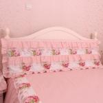 Pre-Order ผ้าคลุมหัวเตียง สีโอรสแต่งระบายดอกกุหลาบ