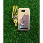 TPU moomin พร้อมสาย Huawei Y3II(Y32) ลายหมีน้ำตาลสีเหลือง