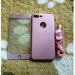 PC พร้อมกระจกสี(มีสายห้อยคอ) iphone7 plus /iphone8 plus(ใช้เคสตัวเดียวกัน)สีชมพู