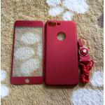 PC พร้อมกระจกสี(มีสายห้อยคอ) iphone7 plus/iphone8 plus(ใช้เคสตัวเดียวกัน)สีแดง