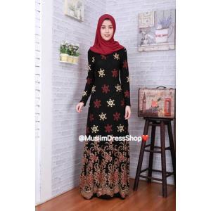 ชุดเดรสมุสลิมแฟชั่นพร้อมผ้าพันแสนสวย ✧☆ Metallic A-Line Dresses ☆ ✧ RED