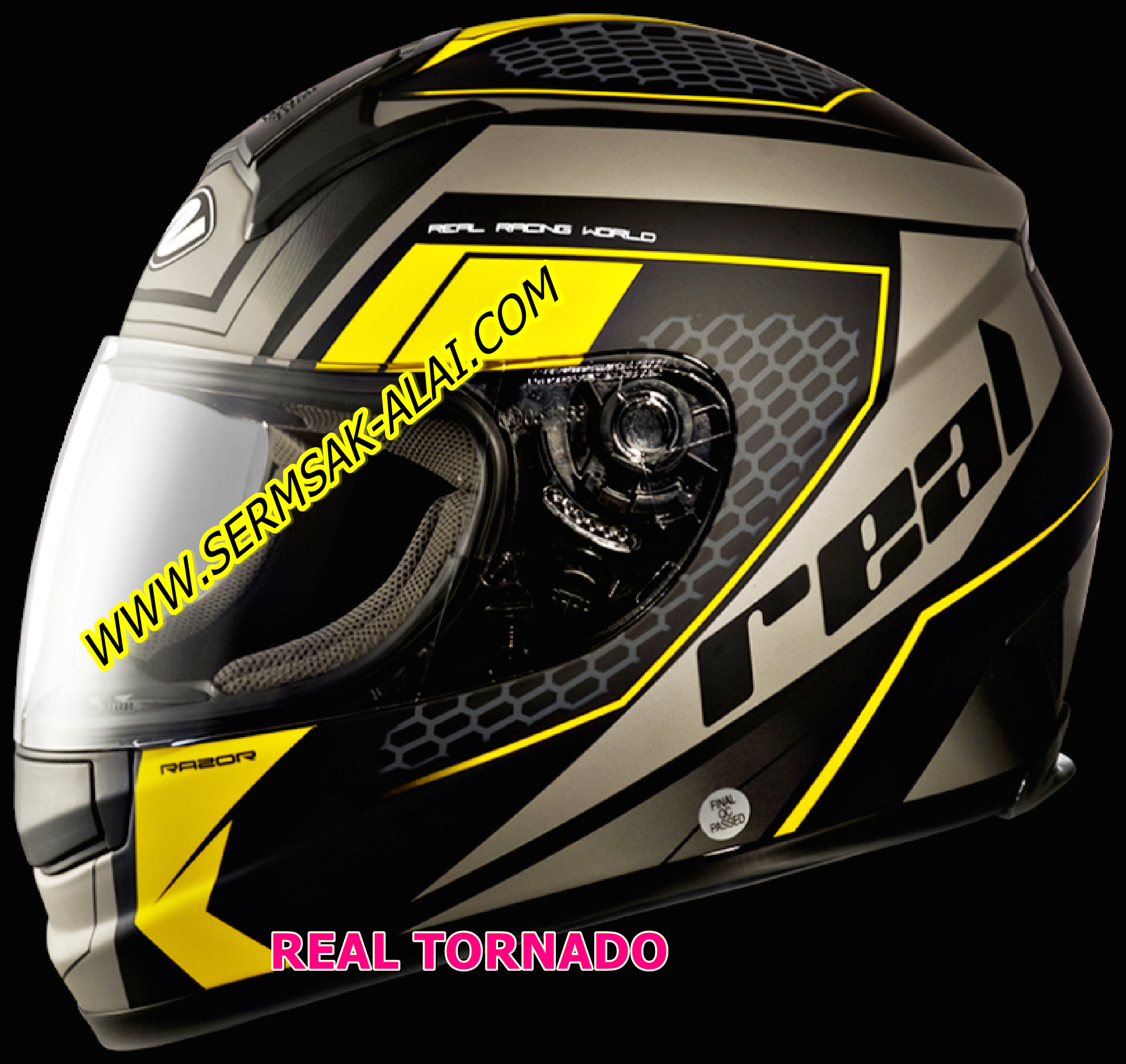 หมวก REAL TORNADO HELMET หมวกกันน็อค REAL TORNADO RAZOR ดำด้าน-เหลือง