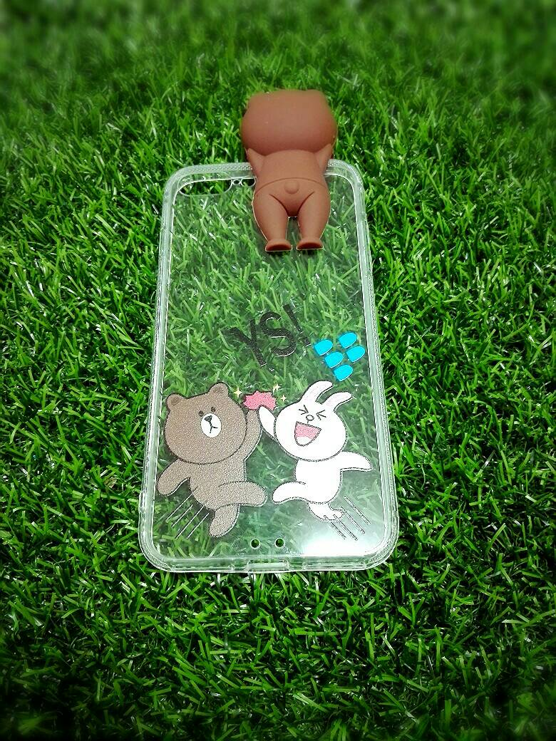 Tpu หมีน้ำตาลเกาะหลังลายหมีกระโดด (มีไฟ) iPhone7 Plus/iphone8 plus(ใช้เคสตัวเดียวกัน)