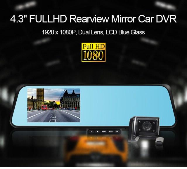 กล้องติดรถยนต์ Vehicle Blackbox DVR Full HD 1080P รูปทรงกระจกมองหลัง พร้อมกล้องถอยหลัง สีดำ