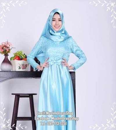 ชุดเดรสมุสลิมแฟชั่นพร้อมผ้าพันแสนสวย