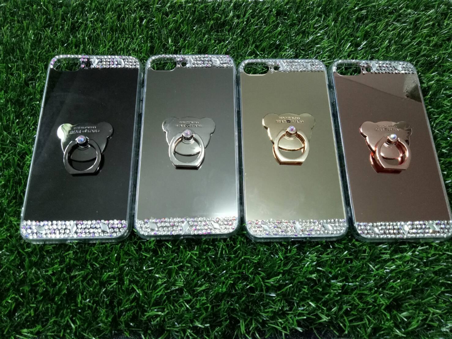 Tpu โครเมี่ยมประดับเพชรหัวท้าย(มีแหวน) iPhone7 plus/iphone8 plus(ใช้เคสตัวเดียวกัน)