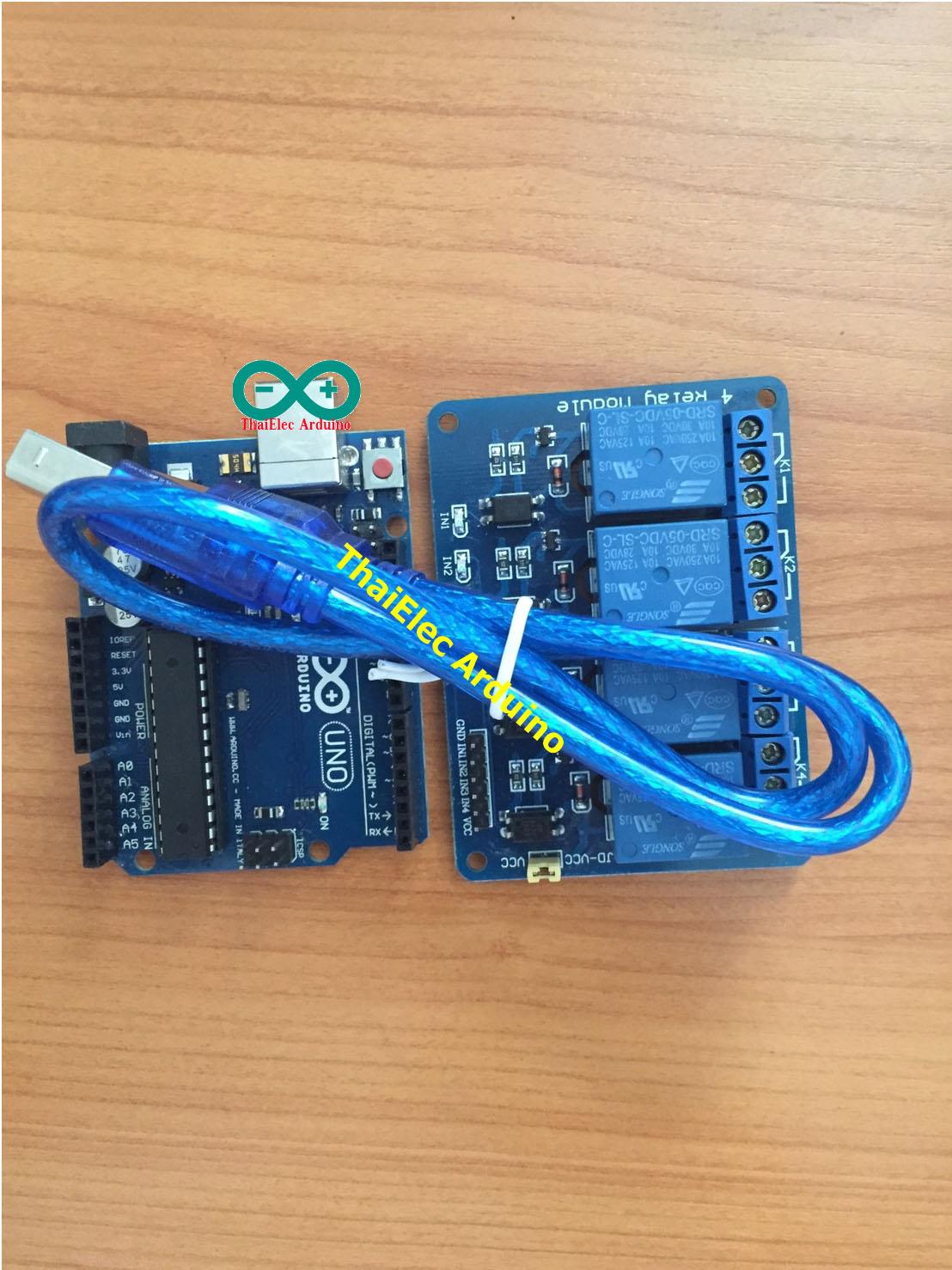 โปรพิเศษลดราคา Arduino Uno R3 แถมสาย USB + RELAY 4 OUT