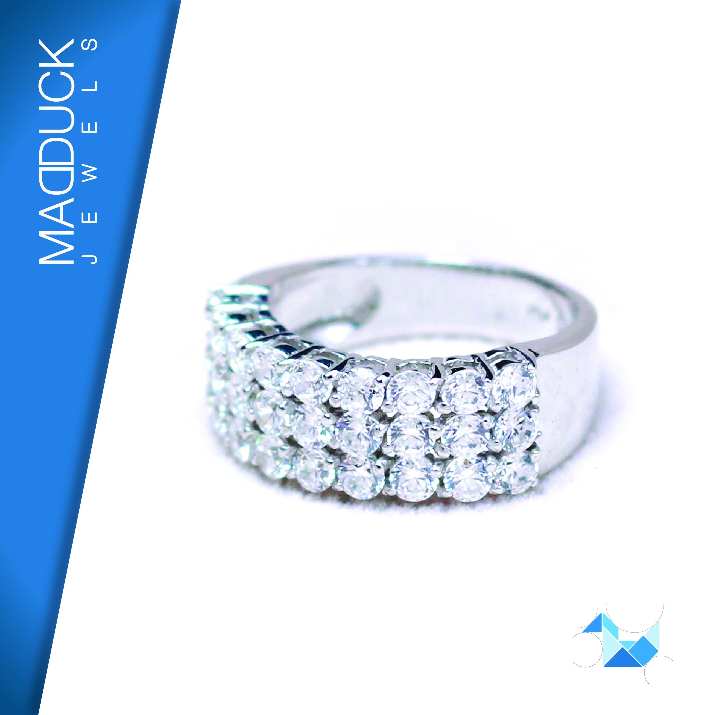 แหวนเงินแท้ เพชรสังเคราะห์ ชุบทองคำขาว รุ่น RG1401 9x3