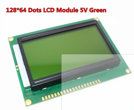 128x64 Dots Graphic Green Color Backlight LCD Display Module for arduino raspberry pi