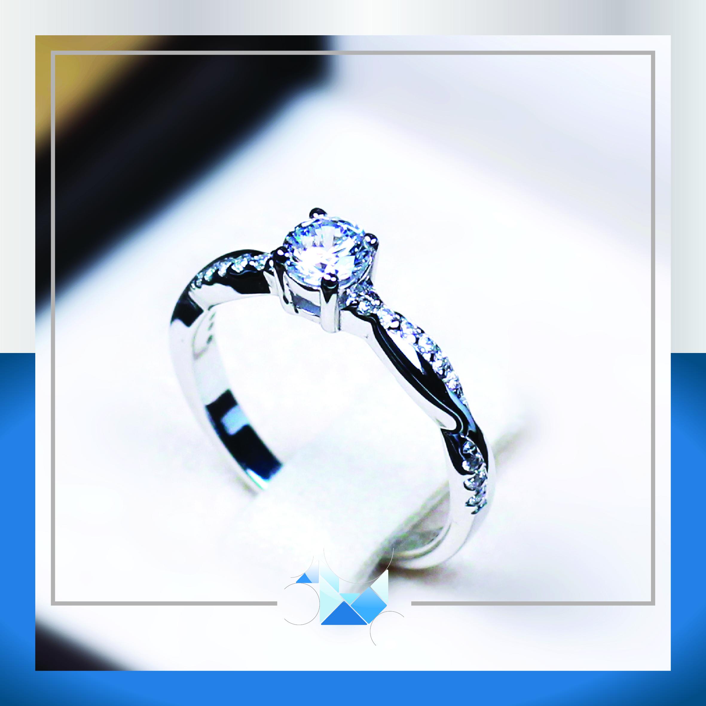 แหวนเงินแท้ เพชรสังเคราะห์ ชุบทองคำขาว รุ่น RG1537 0.23 carat Cute Twist