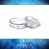 แหวนคู่รักเงินแท้ เพชรสังเคราะห์ ชุบทองคำขาว รุ่น LV15201463 Chapter B & Maxi Frink