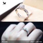 แหวนเงินแท้ เพชรสังเคราะห์ ชุบทองคำขาว รุ่น RG1606 0.60 carat Cute Twist