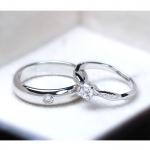 แหวนคู่รักเงินแท้ เพชรสังเคราะห์ ชุบทองคำขาว รุ่น LV14561537 DOT B & 0.23 carat Cute Twist