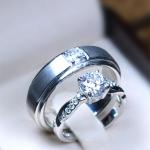 แหวนคู่รักเงินแท้ เพชรสังเคราะห์ ชุบทองคำขาว รุ่น LV14181536 TW B & 1.00 carat Cute Twist