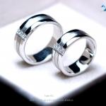 แหวนคู่รักเงินแท้ เพชรสังเคราะห์ ชุบทองคำขาว รุ่น LV14451506 Triple