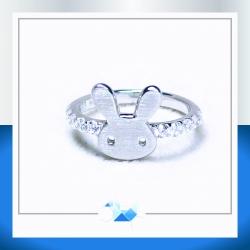 แหวนเงินแท้ เพชรสังเคราะห์ ชุบทองคำขาว รุ่น RG1545 Rabbit